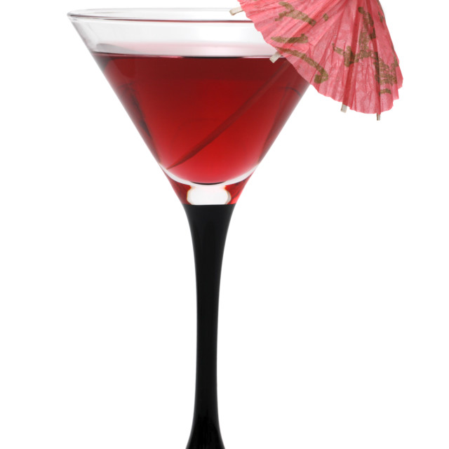 """Red cocktail with an umbrella"" stock image"