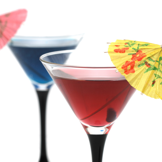 """Two cocktails isolated on white"" stock image"
