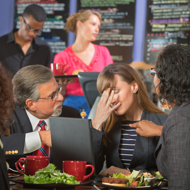 """""""Disappointed Coworkers in Cafeteria"""" stock image"""