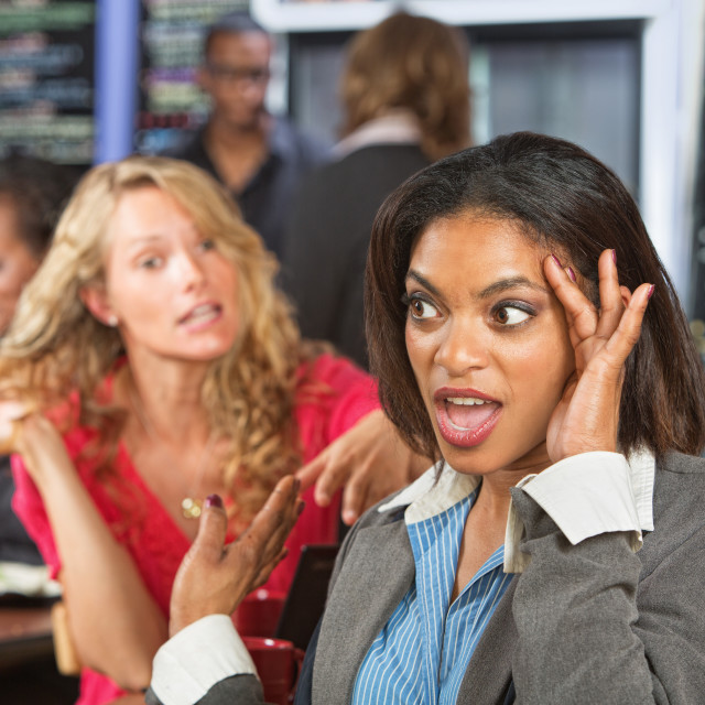 """Irritated Woman in Cafe"" stock image"
