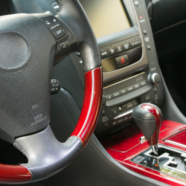"""Steering wheel and gear shift stick"" stock image"