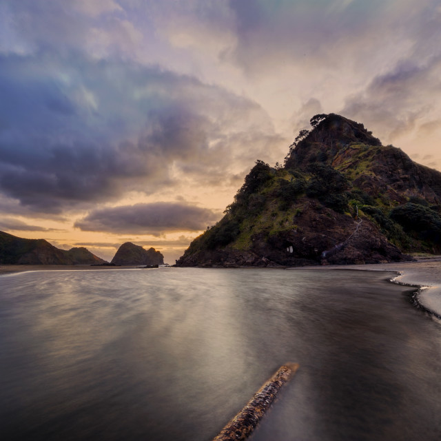 """Dusk at Piha West Coast New Zealand"" stock image"