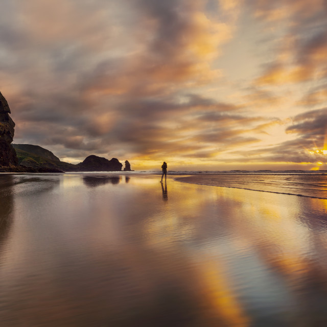 """Dusk at Piha beach West Coast New Zealand"" stock image"