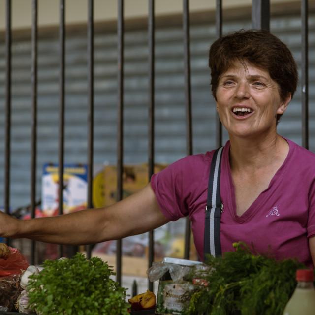 """Montenegrin market lady"" stock image"