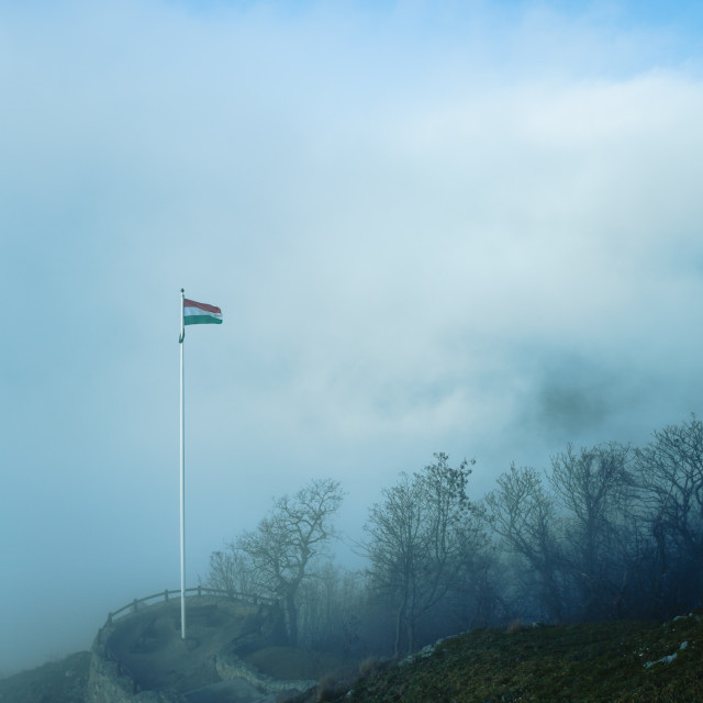 """Hungarian flag in fog"" stock image"