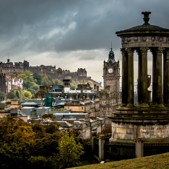 """Edinburgh Castle from Calton Hill"" stock image"