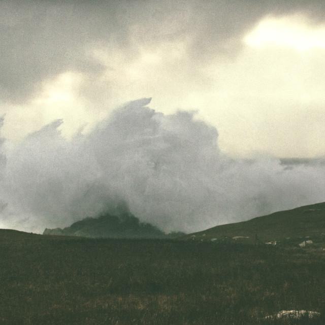 """Sea's angered spray."" stock image"