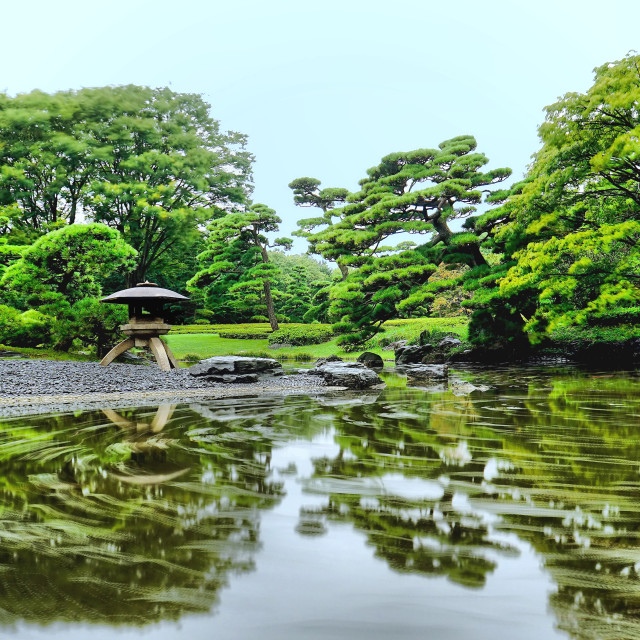 """Imperial Palace Japanese garden"" stock image"