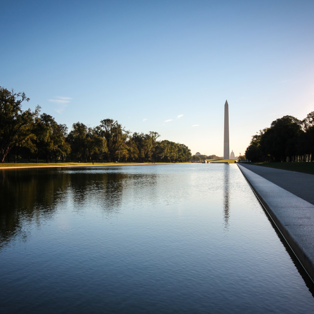 """Sunrise at the Washington Monument"" stock image"