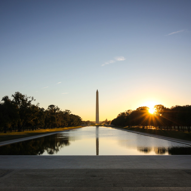 """""""First light at the Washington Monument"""" stock image"""