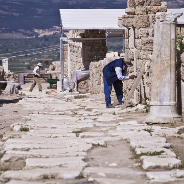 """""""Archeologists at Work on Ancient Asia Minor Site"""" stock image"""