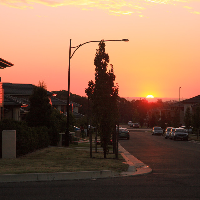 """Suburban sunset"" stock image"