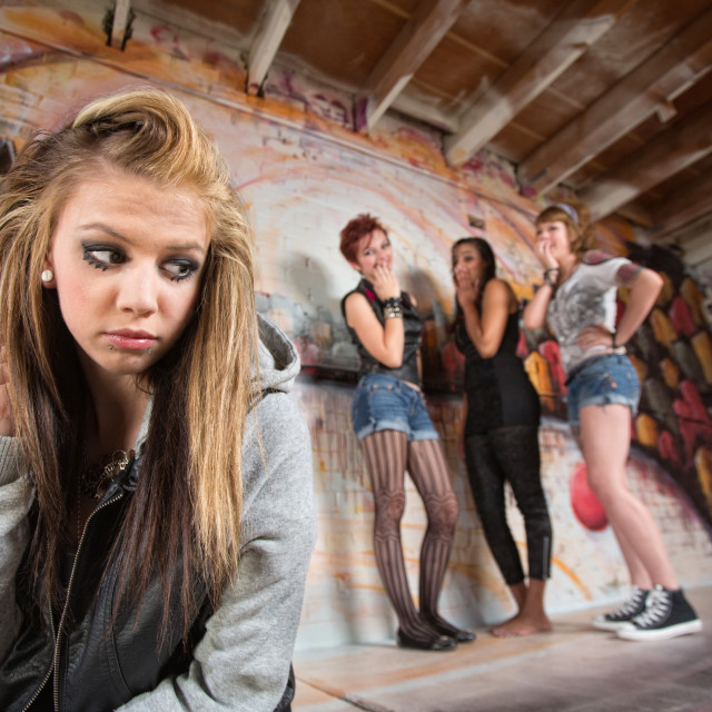 """Cruel Gang Bullies Girl"" stock image"