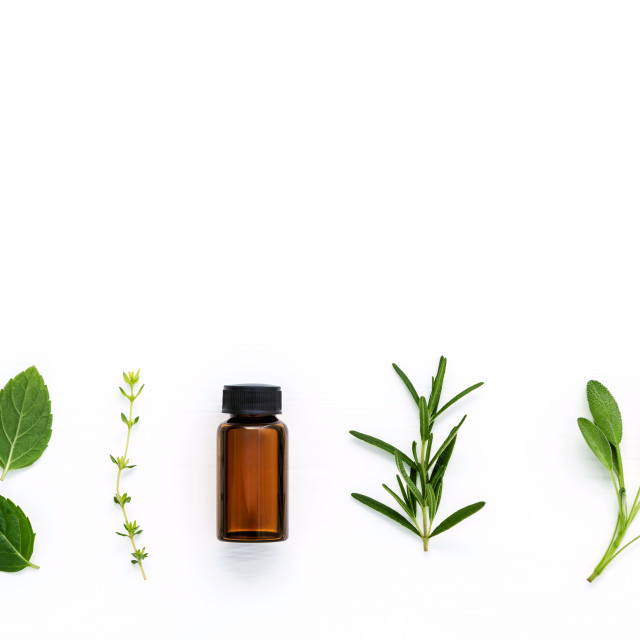 """Bottle of essential oil with fresh herbal sage, rosemary, thyme and..."" stock image"