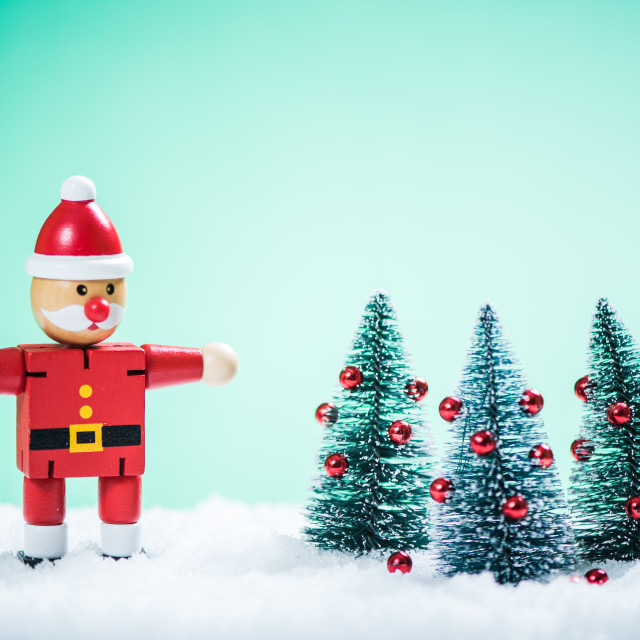 """Vintage Santa and Christmas trees"" stock image"