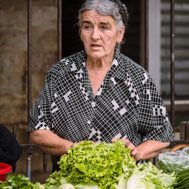 """""""Montenegrin vegetable seller"""" stock image"""