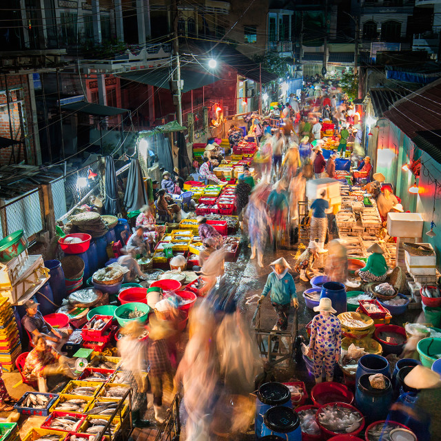 """Fish market at night"" stock image"