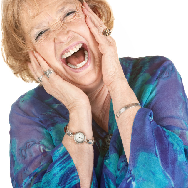"""Blond Senior Woman Screaming"" stock image"
