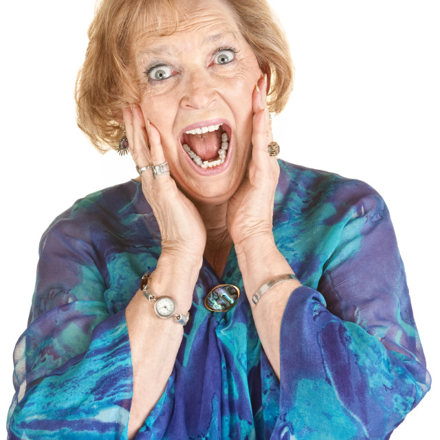 """Frightened Elderly Woman"" stock image"