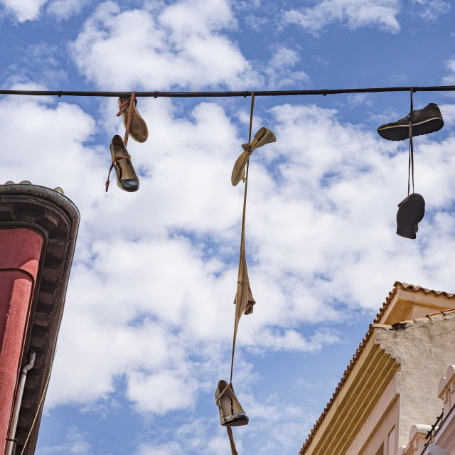 """Shoe flinging in Madrid"" stock image"