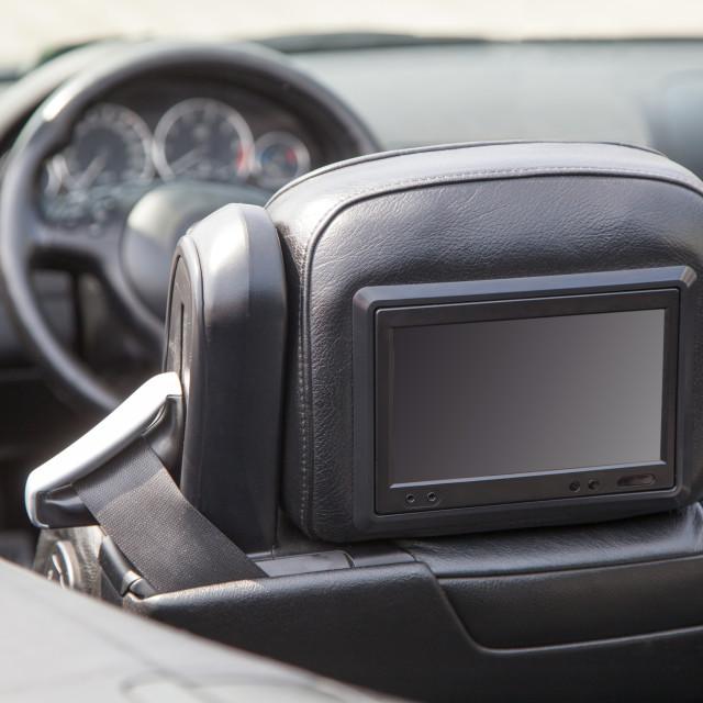 """Multimedia screen in a luxury car"" stock image"