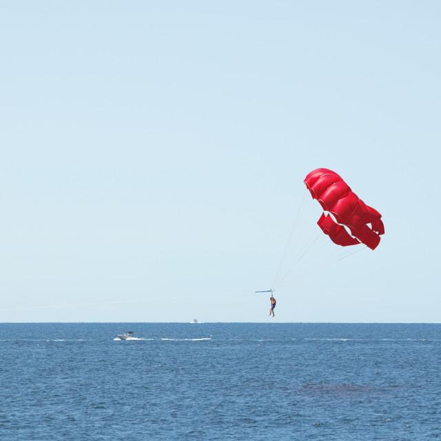 """Parasailing Sea and Blue Sky"" stock image"