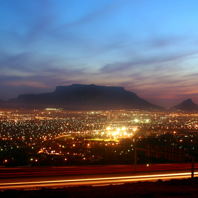 """Cape Town Harbour as seen from Tygerberg Hill"" stock image"