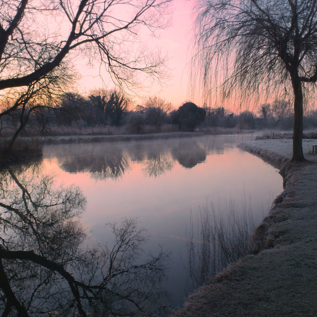 """Winter's sunrise over the River Test"" stock image"