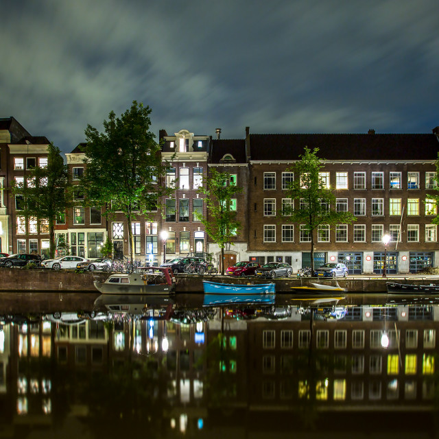 """Canal-side house a night, Amsterdam."" stock image"