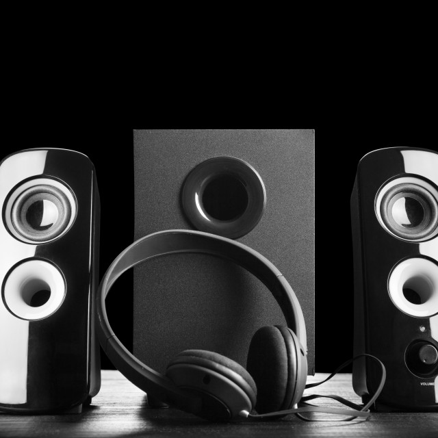 """Modern black sound speakers"" stock image"