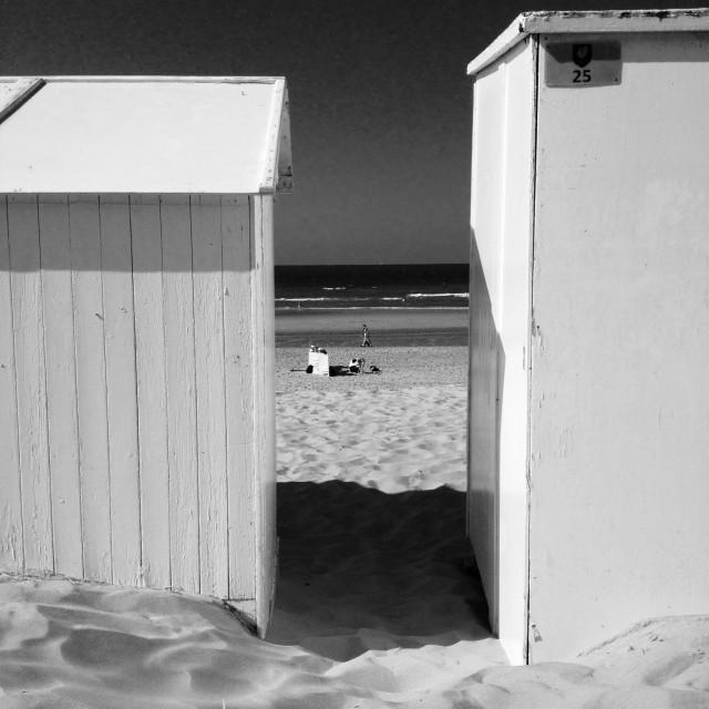 """""""Beach cabines De Haan"""" stock image"""