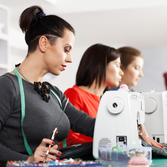 """Women in a sewing workshop"" stock image"