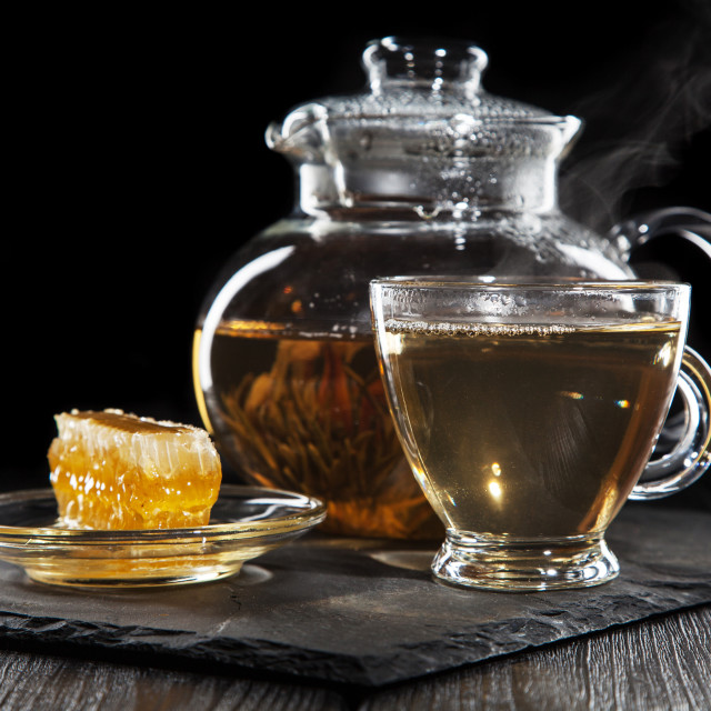 """Glass teapot on black"" stock image"