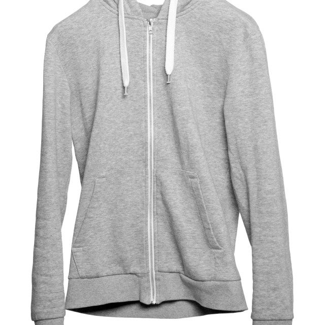 """Gray hoodie on white background"" stock image"