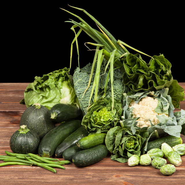 """Assortment of green vegetables"" stock image"