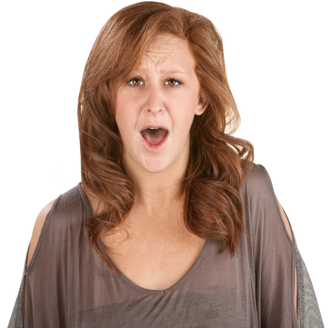 """Horrified Woman Over White"" stock image"
