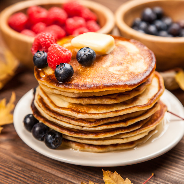 """High pile of delicious pancakes"" stock image"
