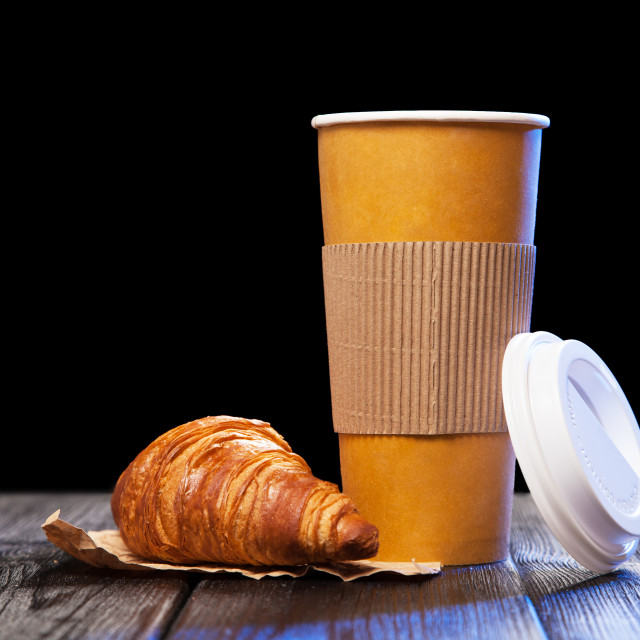 """Coffee in a paper cup"" stock image"