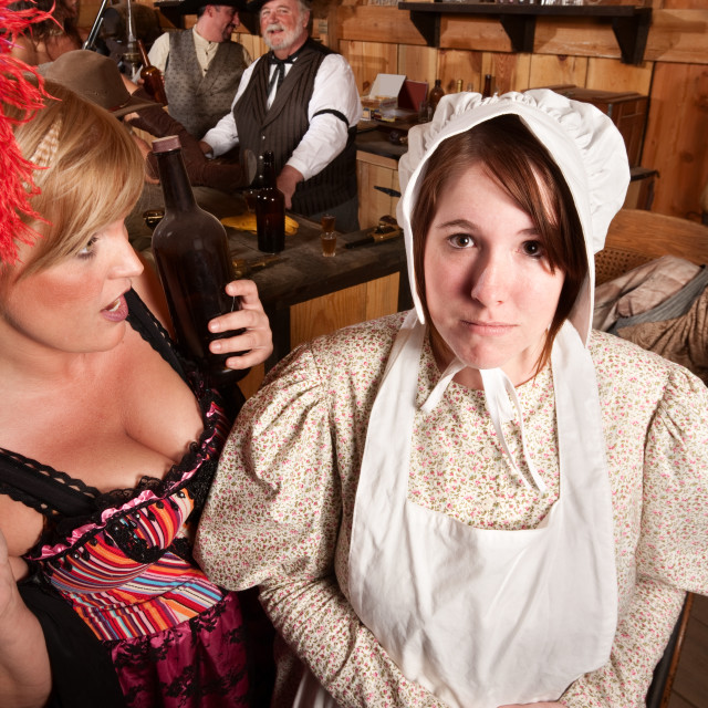 """""""Bar Maid and Lay in Bonnet"""" stock image"""