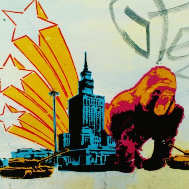 """Warsaw in Polish street art"" stock image"