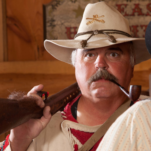 """Old west trapper with pipe"" stock image"