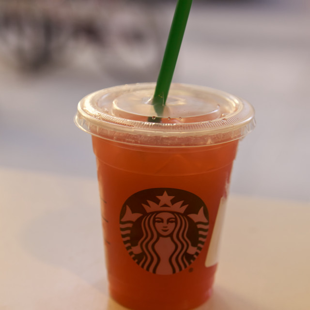 """Starbucks, drink inNew York City, USA"" stock image"