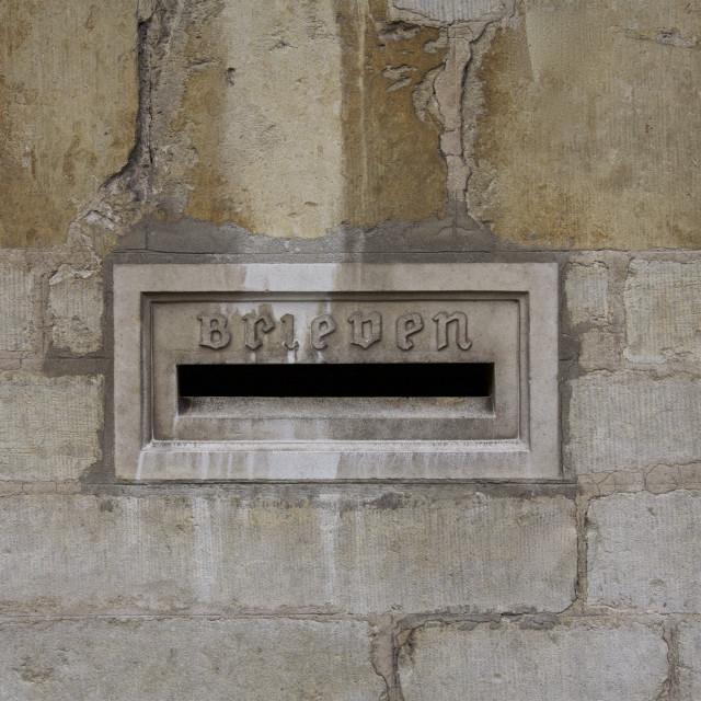 """""""Brugge post box, Belgium"""" stock image"""