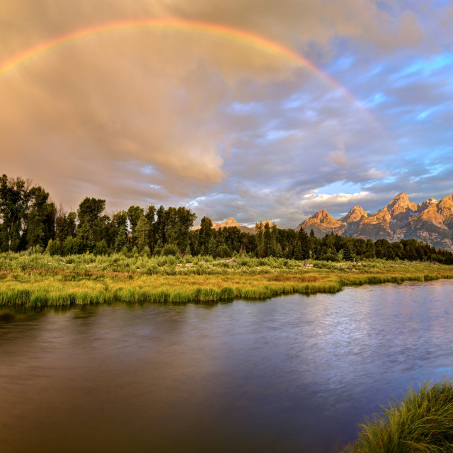 """Stormy Sunrise at the Snake River and the Grand Tetons"" stock image"