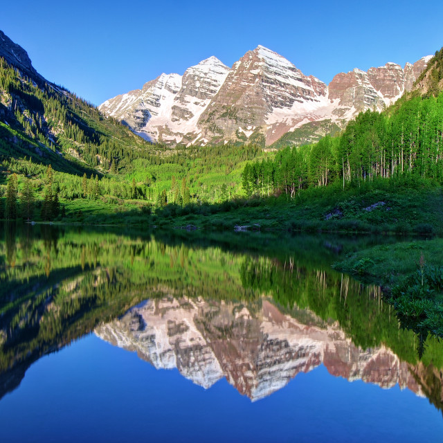 """Maroon Bells Morning Reflection"" stock image"