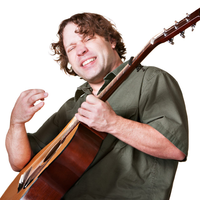 """Excited Guitar Player"" stock image"