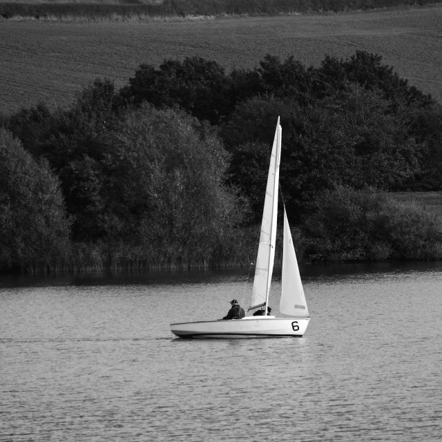 """""""Yacht at Pugneys Country Park, Wakefield."""" stock image"""