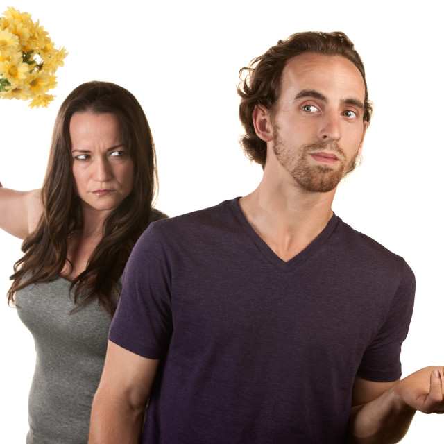 """""""Angry Woman with Flowers and Naive Man"""" stock image"""