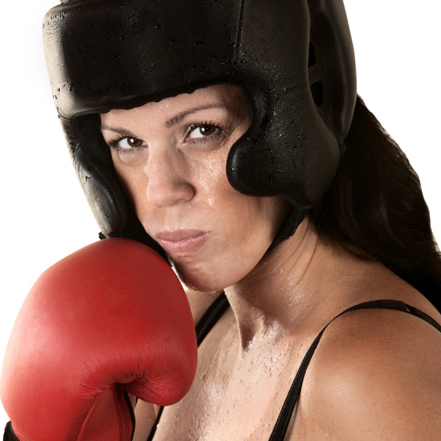 """Serious Female Boxer Sweating"" stock image"
