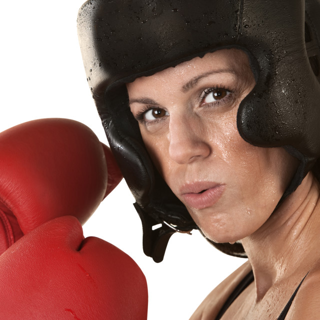 """Woman Boxer with Gloves Close Up"" stock image"
